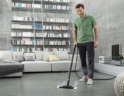 Higienização de piso com vapor